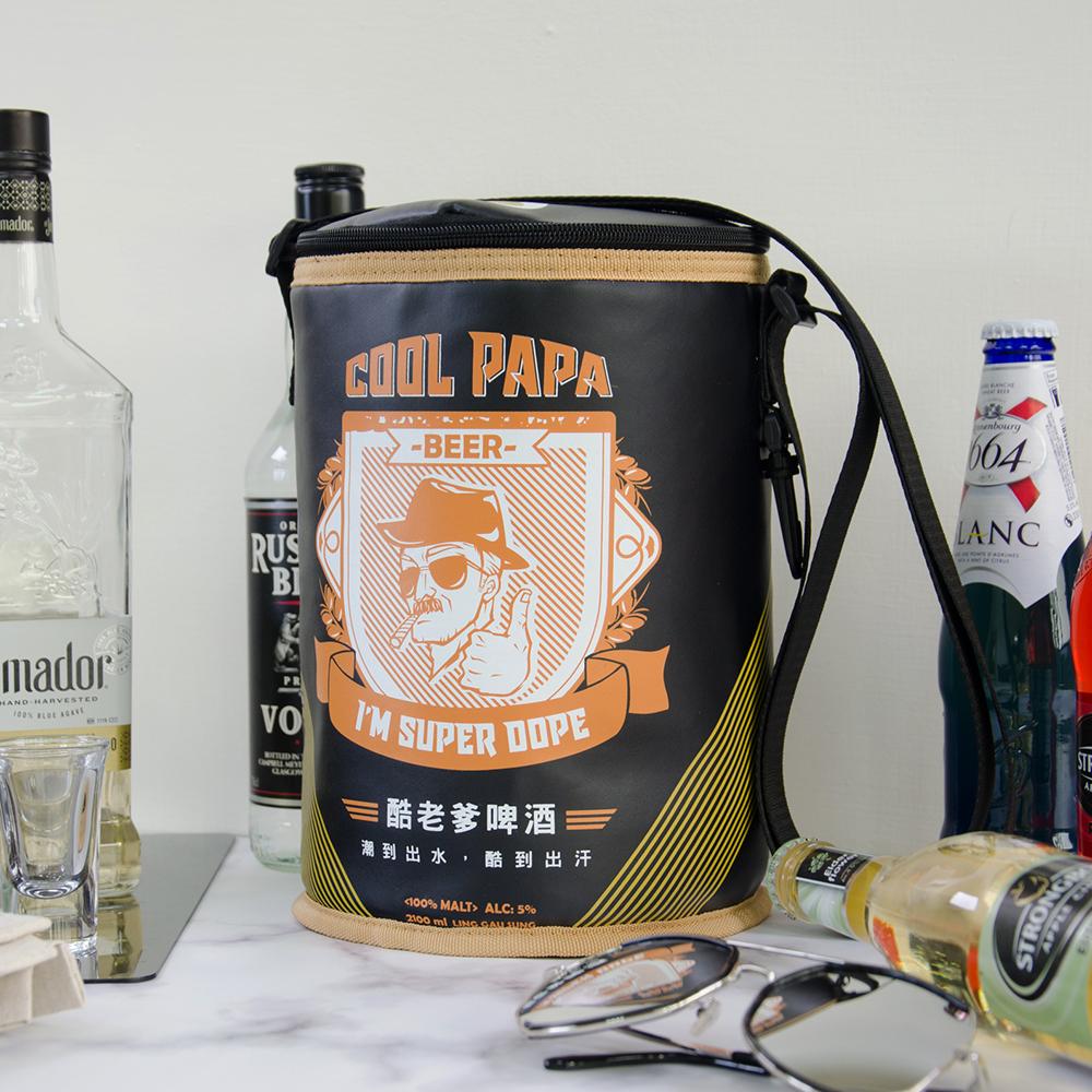 啤酒老爹PU皮圓筒造型保冷袋 D0029