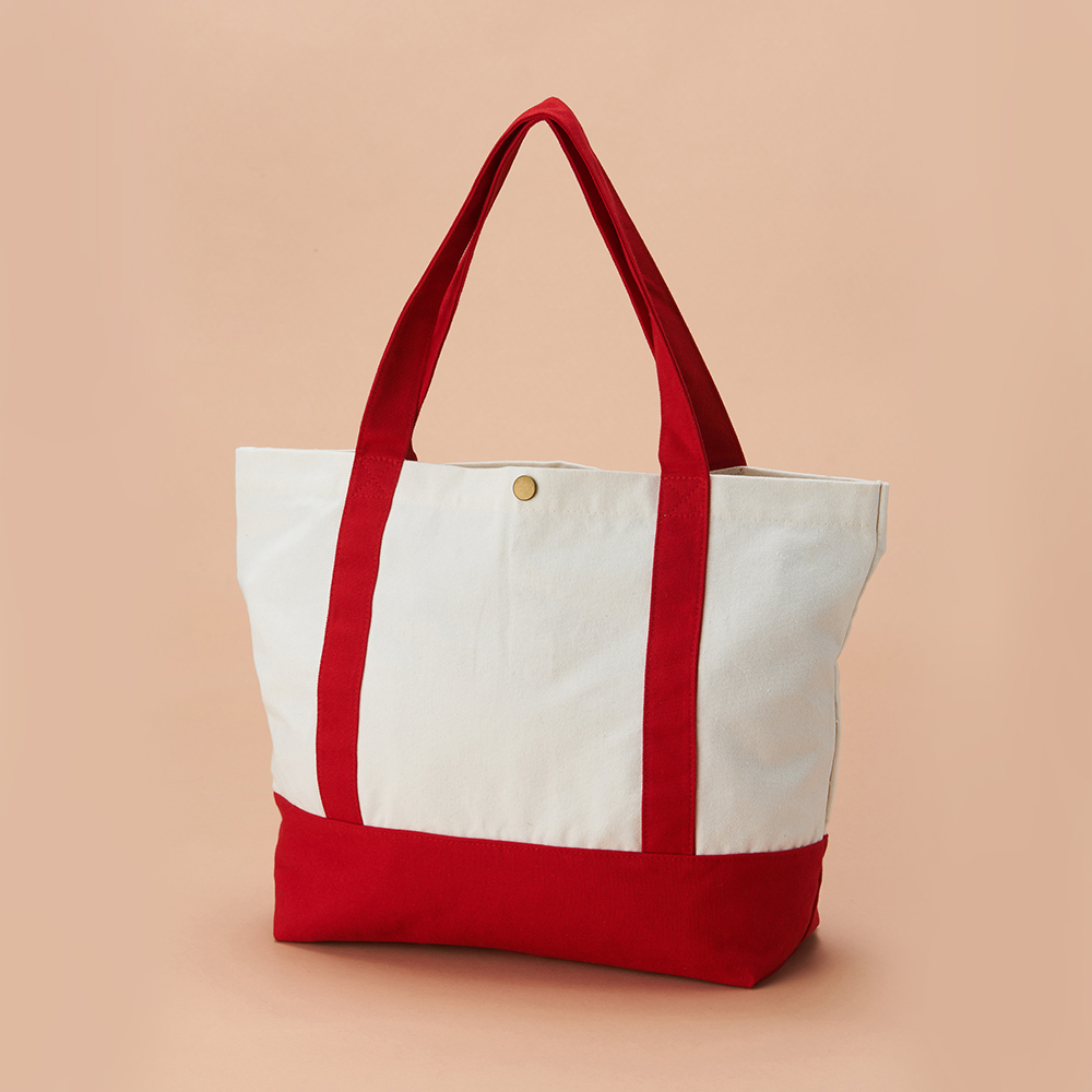 【Custom Printing】Large Red Handled Canvas Bag