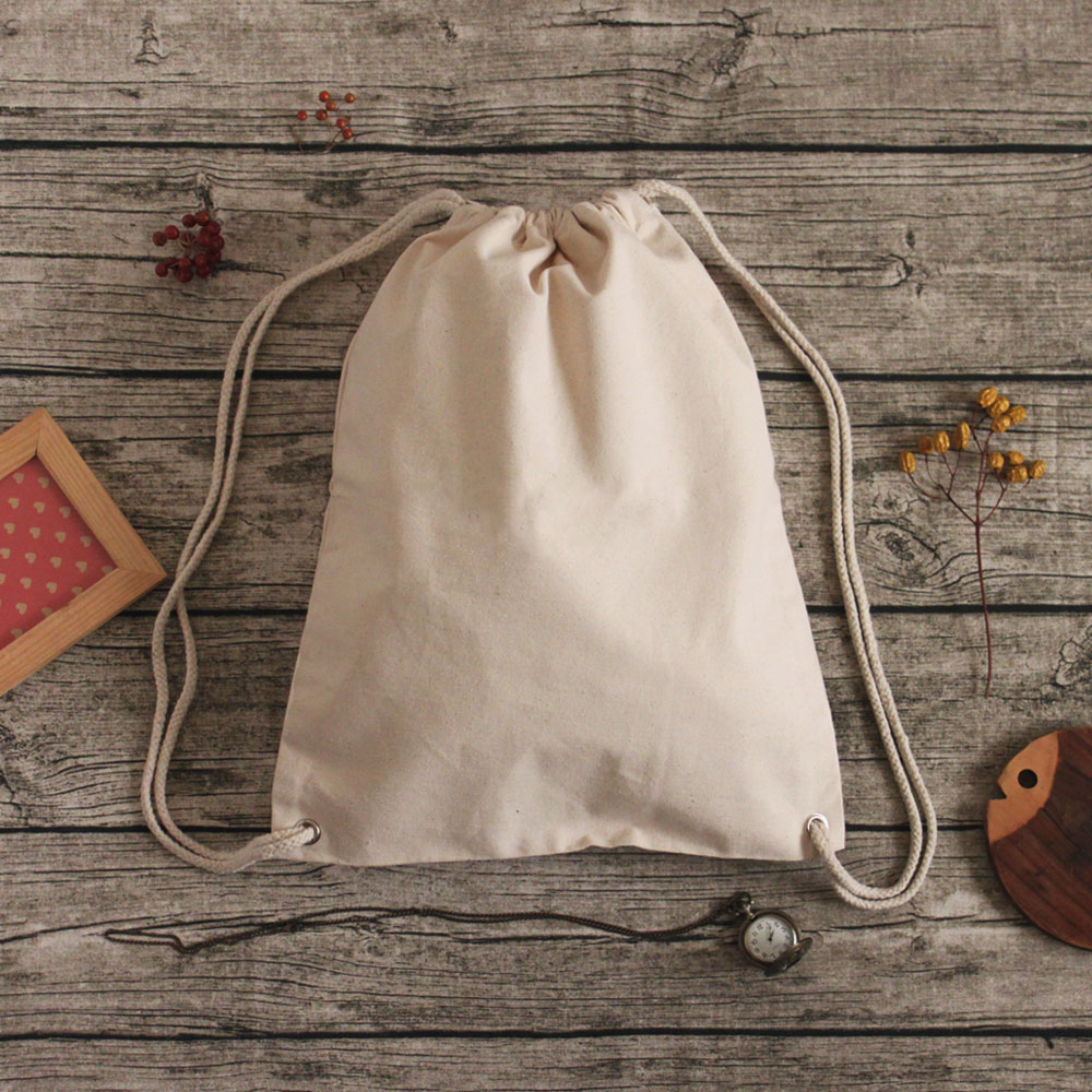 【Customized】Cotton Canvas Drawstring Backpack - Beige F0009