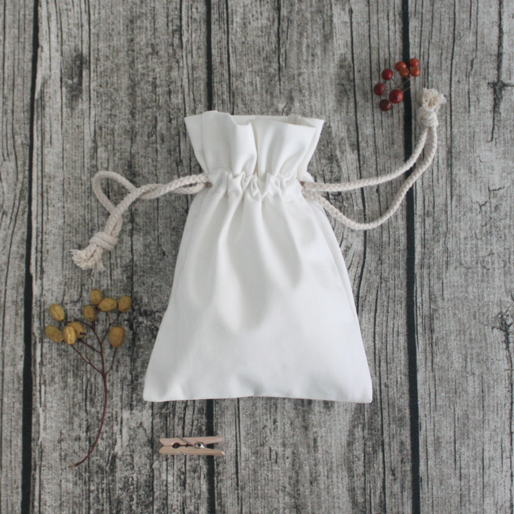 【Customized】Cotton Drawstring Pouch - White F0011